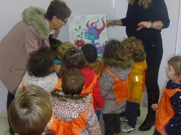 Visita de la E.E.I Gloria Fuertes a la V Exposición «Acercando el arte al TEA»
