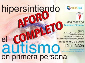 """Aforo completo para la Jornada """"Hipersintiendo el Autismo en Primera Persona"""""""